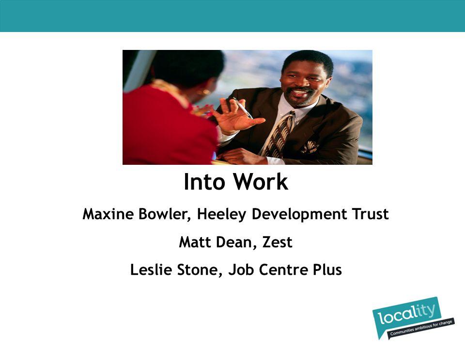 Into Work Maxine Bowler, Heeley Development Trust Matt Dean, Zest Leslie Stone, Job Centre Plus