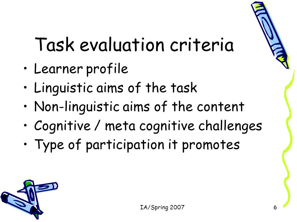 IA/Spring 20076 Task evaluation criteria Learner profile Linguistic aims of the task Non-linguistic aims of the content Cognitive / meta cognitive challenges Type of participation it promotes
