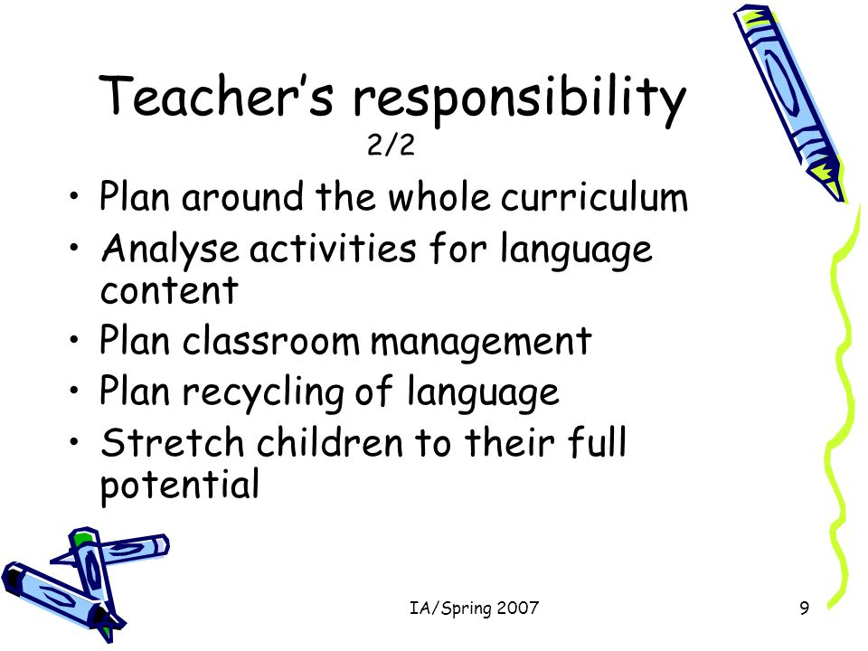 IA/Spring 20079 Teacher's responsibility 2/2 Plan around the whole curriculum Analyse activities for language content Plan classroom management Plan recycling of language Stretch children to their full potential