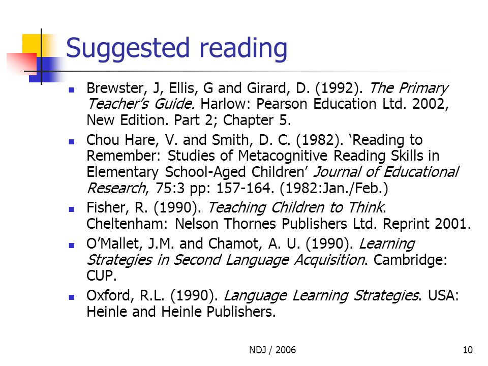 NDJ / 200610 Suggested reading Brewster, J, Ellis, G and Girard, D.