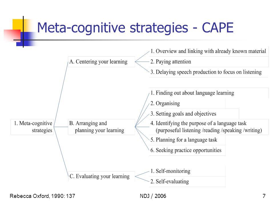 NDJ / 20067 Meta-cognitive strategies - CAPE Rebecca Oxford, 1990: 137
