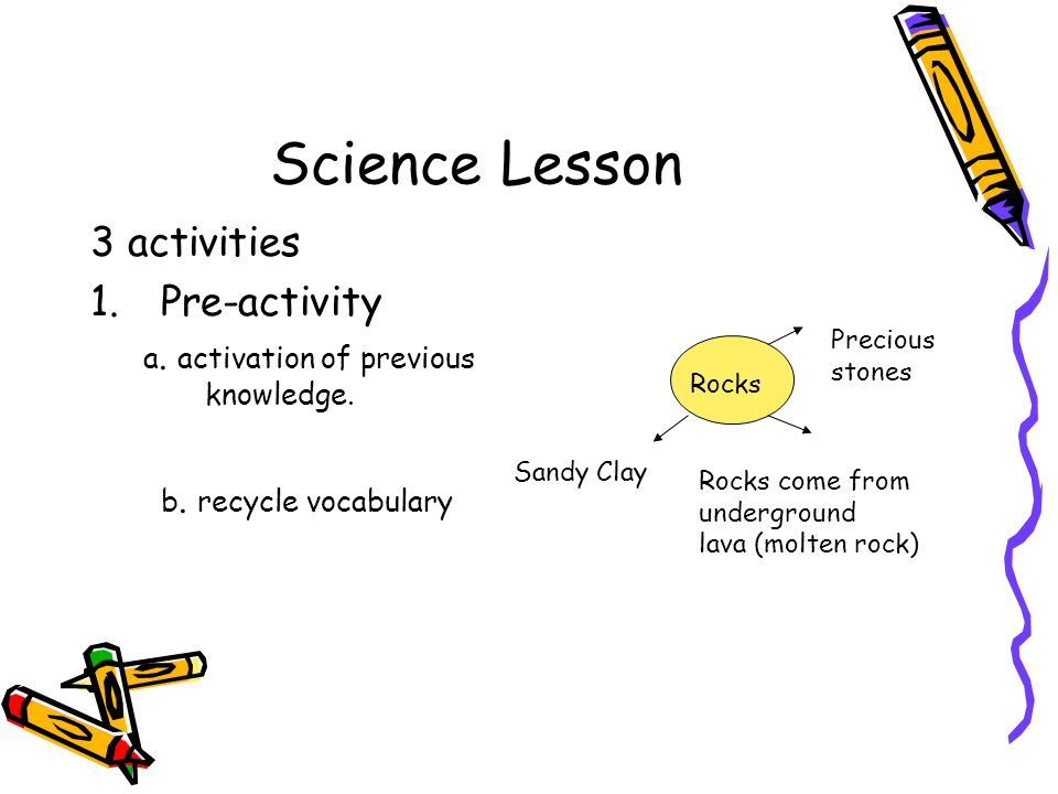Science Lesson 3 activities 1.Pre-activity a. activation of previous knowledge. b. recycle vocabulary Rocks Precious stones Rocks come from undergroun