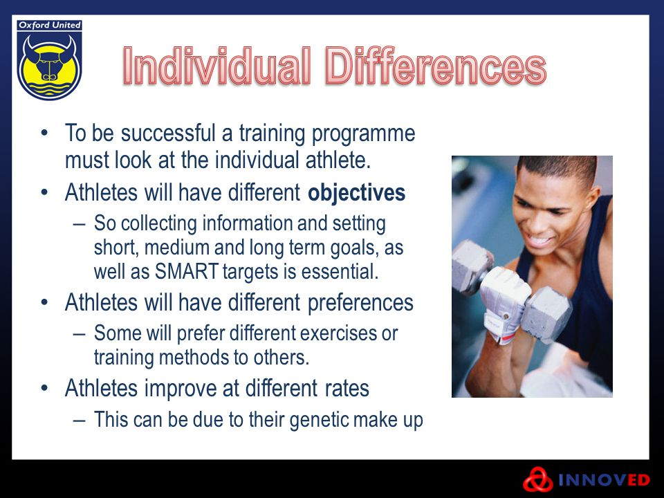 To be successful a training programme must look at the individual athlete. Athletes will have different objectives – So collecting information and set
