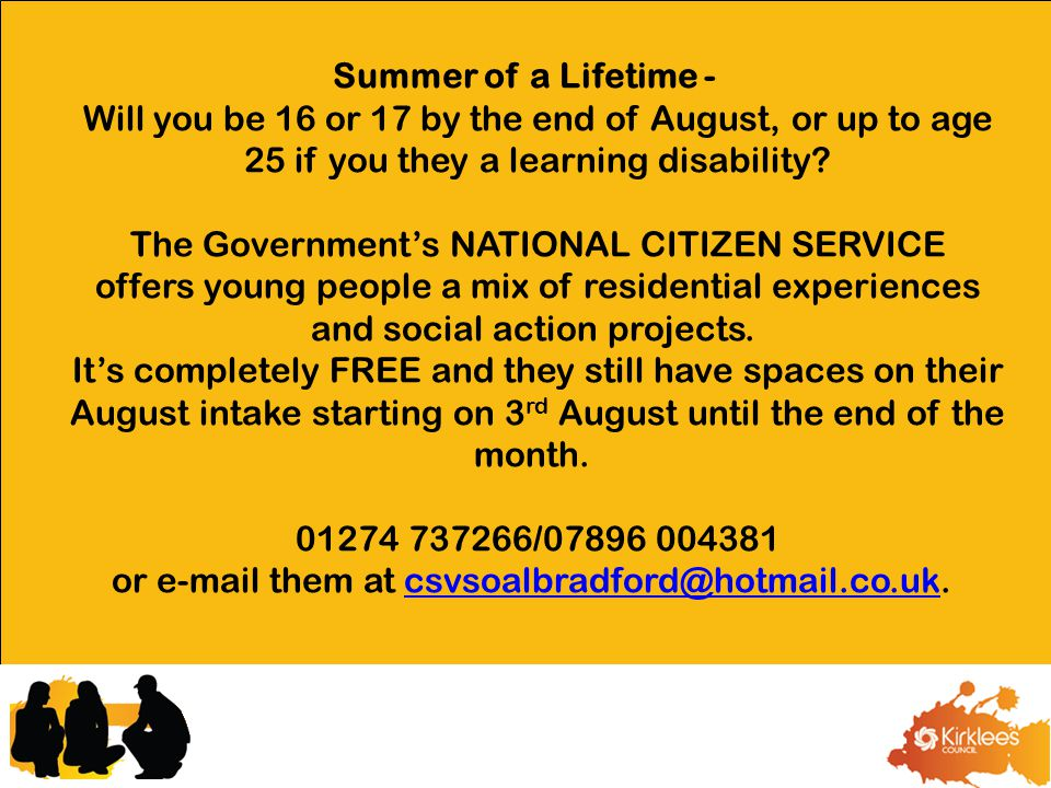 Summer of a Lifetime - Will you be 16 or 17 by the end of August, or up to age 25 if you they a learning disability? The Government's NATIONAL CITIZEN