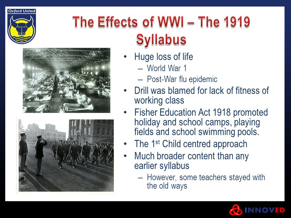 Huge loss of life – World War 1 – Post-War flu epidemic Drill was blamed for lack of fitness of working class Fisher Education Act 1918 promoted holiday and school camps, playing fields and school swimming pools.
