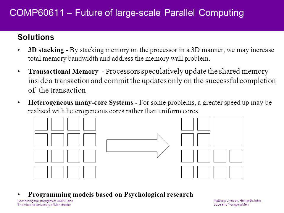 Combining the strengths of UMIST and The Victoria University of Manchester Matthew Livesey, Hemanth John Jose and Yongping Men COMP60611 – Future of large-scale Parallel Computing Solutions 3D stacking - By stacking memory on the processor in a 3D manner, we may increase total memory bandwidth and address the memory wall problem.