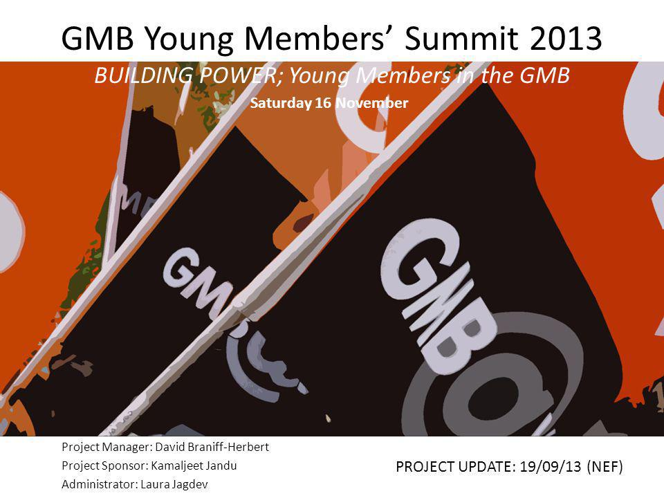 GMB Young Members' Summit 2013 BUILDING POWER; Young Members in the GMB Project Manager: David Braniff-Herbert Project Sponsor: Kamaljeet Jandu Admini