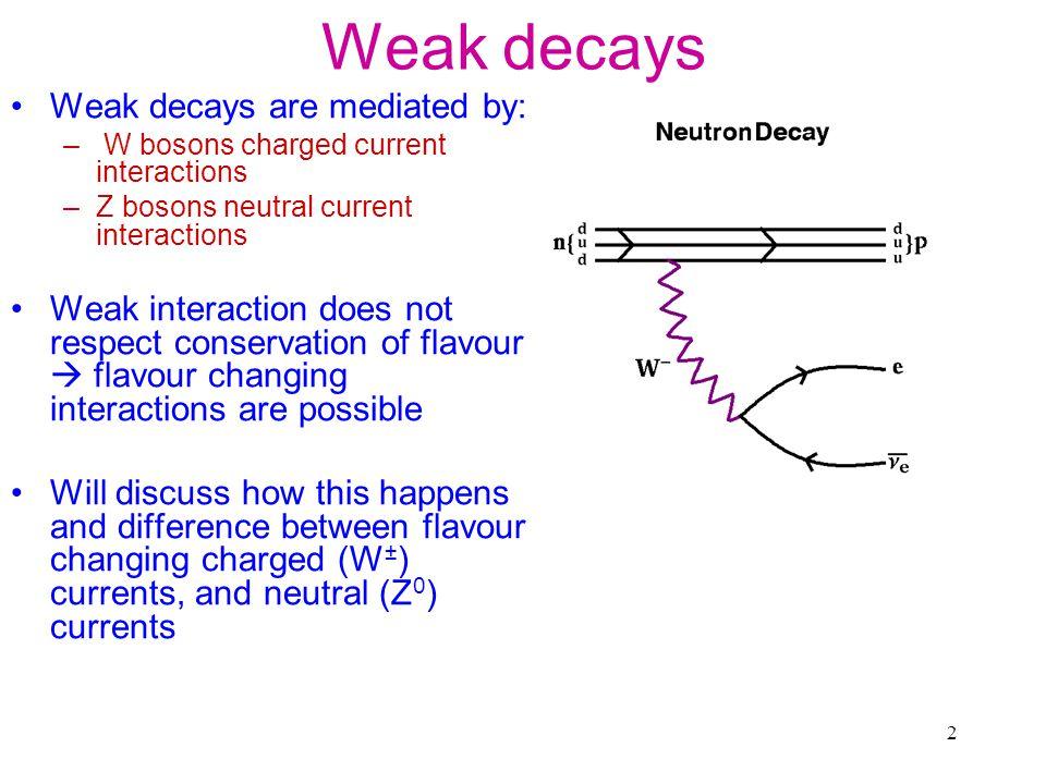 3 Weak Decays: Charged currents e e W   W c s W u d W gWgW gWgW gWgW gWgW ud vertex: allowed us vertex: not-allowed but observed.