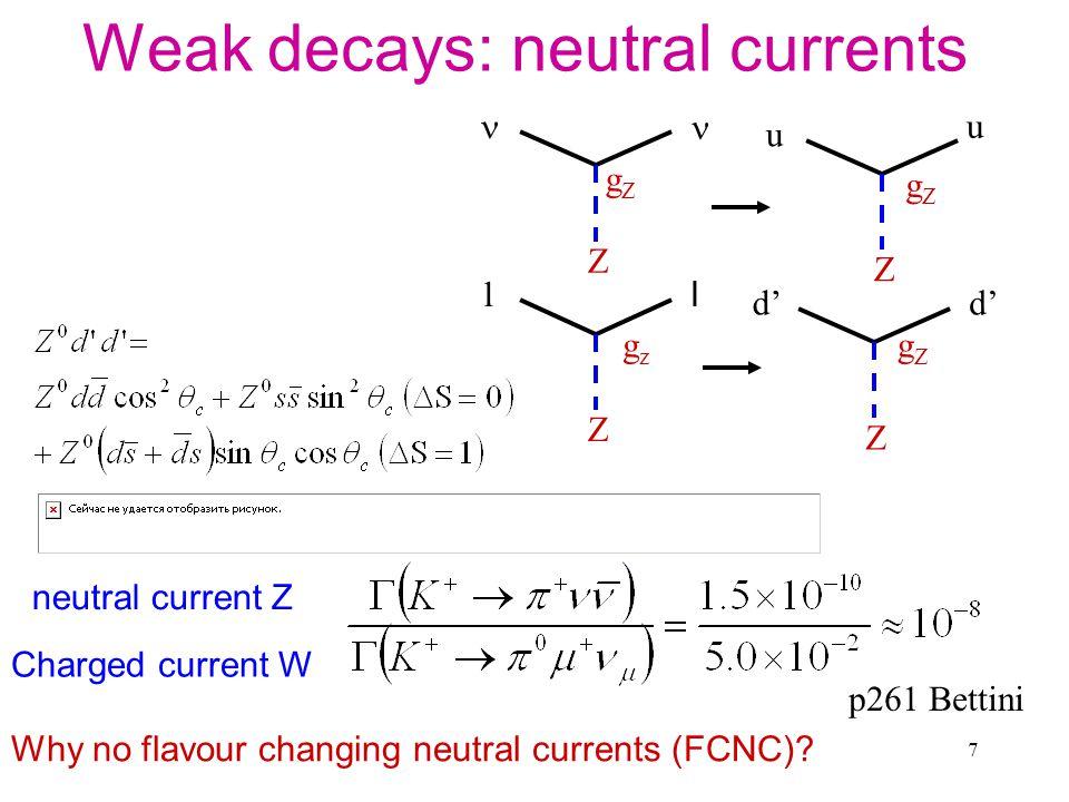 8 GIM Mechanism: Add in charm u u Z d' Z gZgZ gZgZ c c Z s' Z gZgZ gZgZ d' s' No flavour changing neutral Currents (FCNC) Glasgow, Iliopoulos, Maiani 1970, used this to suggest another quark was needed (at tree level in SM)