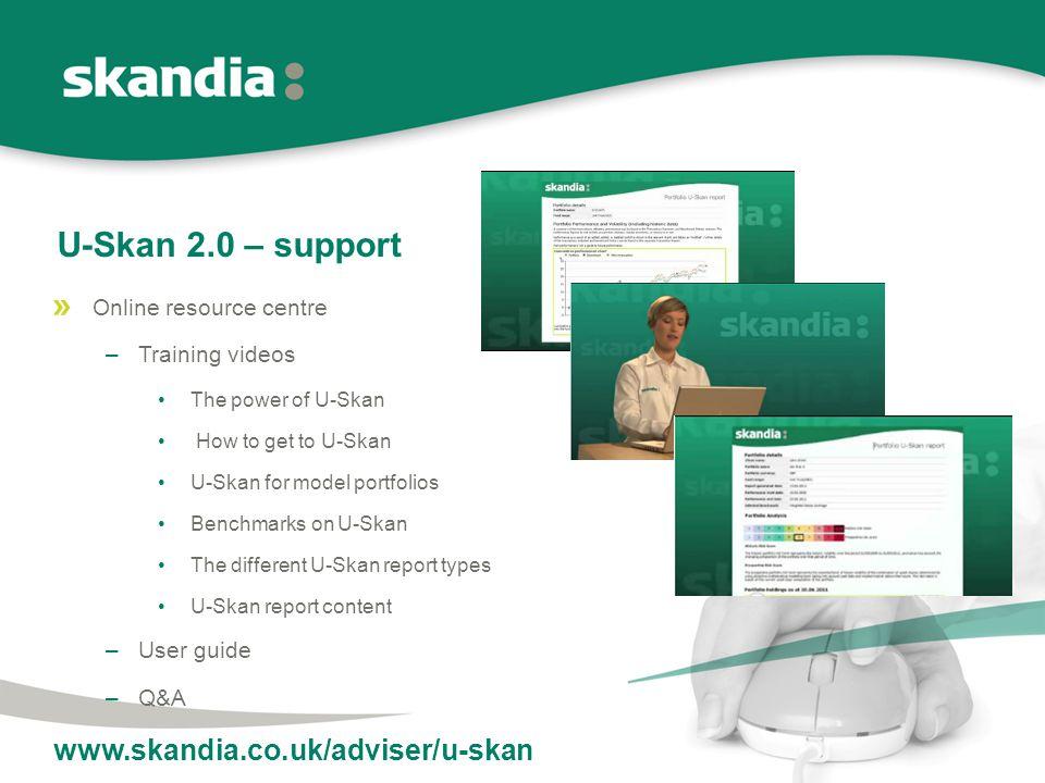U-Skan 2.0 – support Online resource centre –Training videos The power of U-Skan How to get to U-Skan U-Skan for model portfolios Benchmarks on U-Skan The different U-Skan report types U-Skan report content –User guide –Q&A www.skandia.co.uk/adviser/u-skan