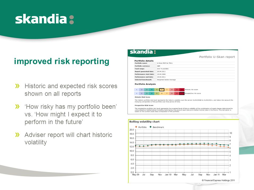 improved risk reporting Historic and expected risk scores shown on all reports 'How risky has my portfolio been' vs.