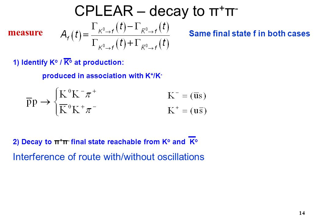 14 1) Identify K o / K o at production: produced in association with K + /K - 2) Decay to π + π - final state reachable from K o and K o CPLEAR – deca