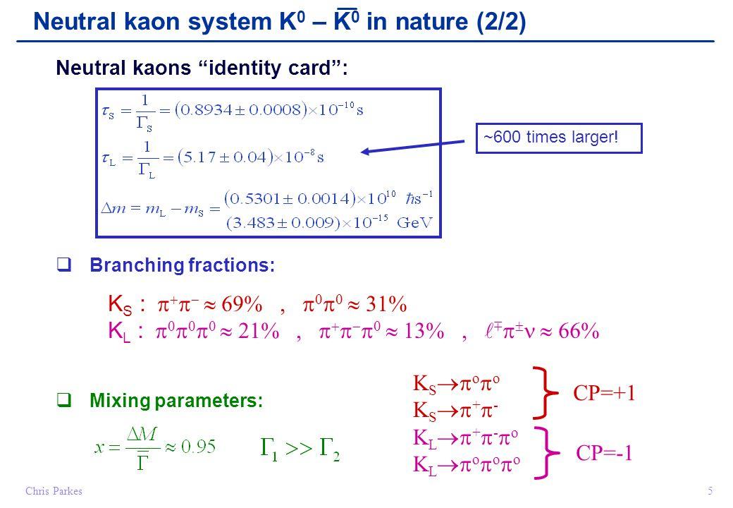 "Chris Parkes5 Neutral kaons ""identity card"":  Branching fractions: K S :      69%,      31% K L :        21%,        13%, "