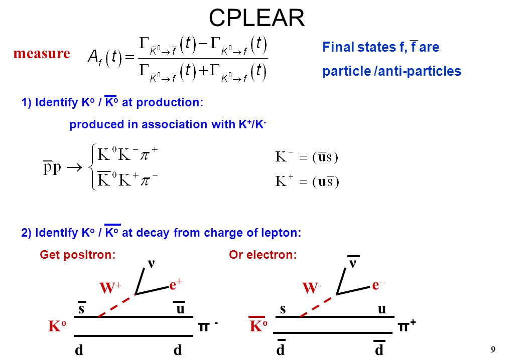 9 1) Identify K o / K o at production: produced in association with K + /K - 2) Identify K o / K o at decay from charge of lepton:CPLEAR measure Get p