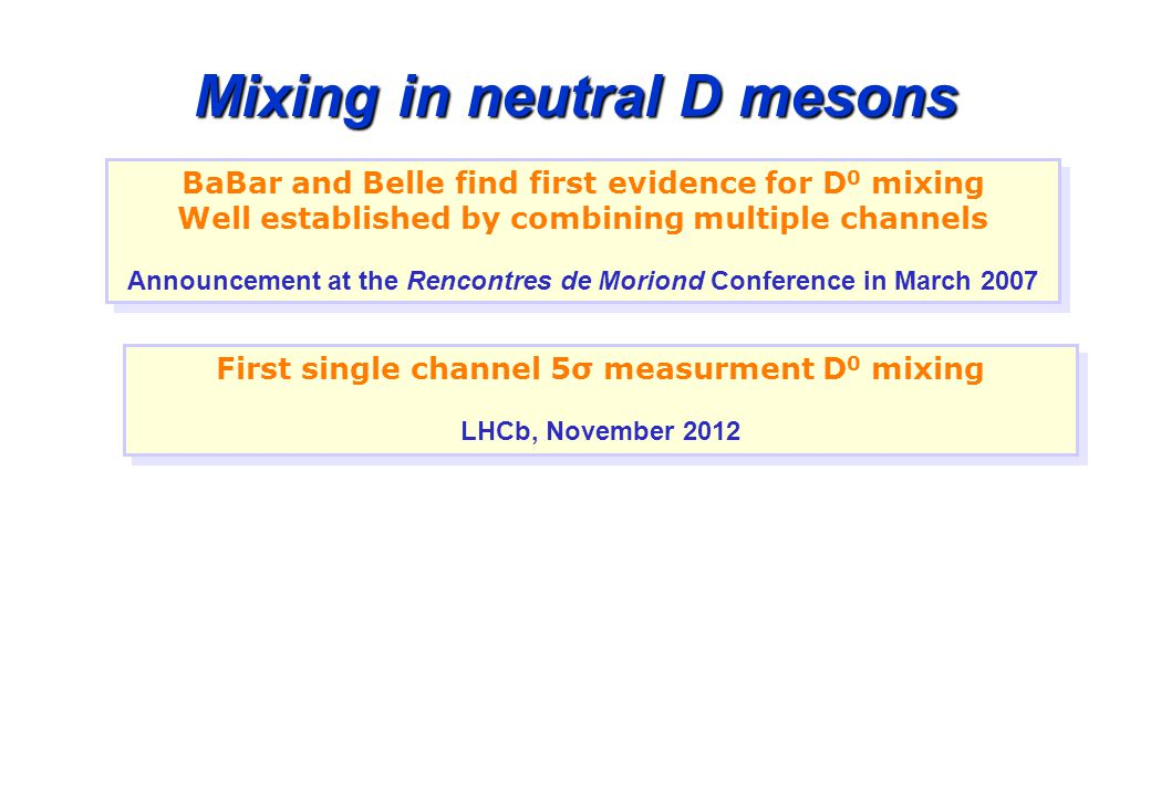 Mixing in neutral D mesons BaBar and Belle find first evidence for D 0 mixing Well established by combining multiple channels Announcement at the Rencontres de Moriond Conference in March 2007 BaBar and Belle find first evidence for D 0 mixing Well established by combining multiple channels Announcement at the Rencontres de Moriond Conference in March 2007 First single channel 5σ measurment D 0 mixing LHCb, November 2012 First single channel 5σ measurment D 0 mixing LHCb, November 2012