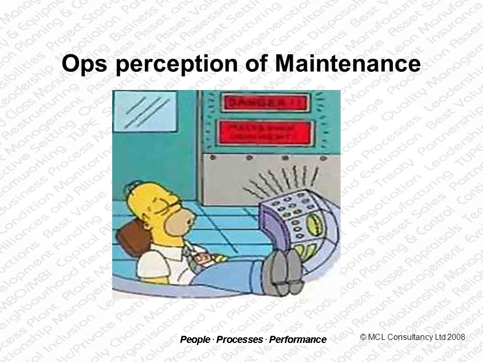 Maintenance perception of Ops © MCL Consultancy Ltd 2008
