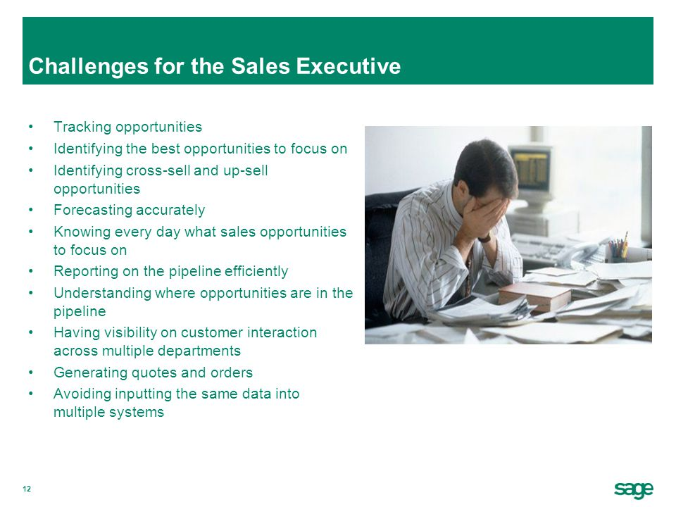 12 Challenges for the Sales Executive Tracking opportunities Identifying the best opportunities to focus on Identifying cross-sell and up-sell opportu