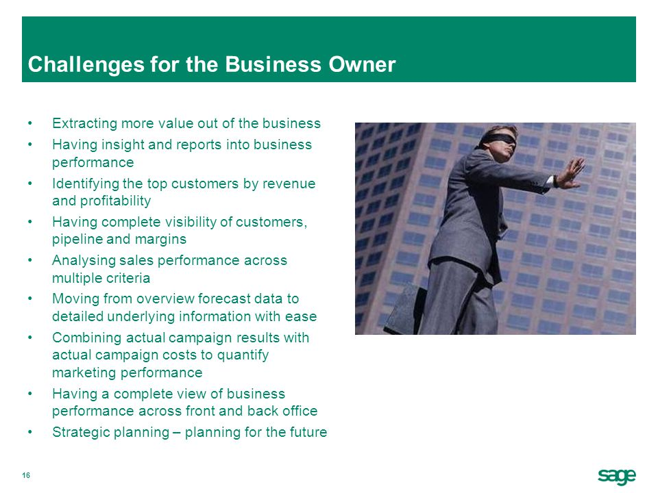 16 Challenges for the Business Owner Extracting more value out of the business Having insight and reports into business performance Identifying the to