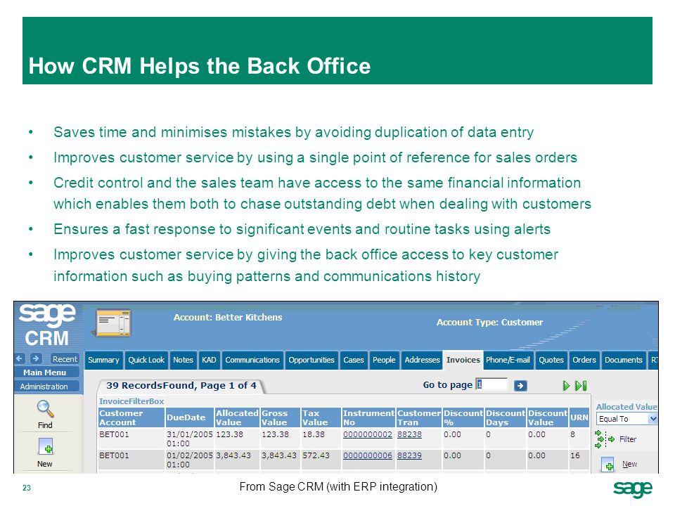 23 How CRM Helps the Back Office Saves time and minimises mistakes by avoiding duplication of data entry Improves customer service by using a single p