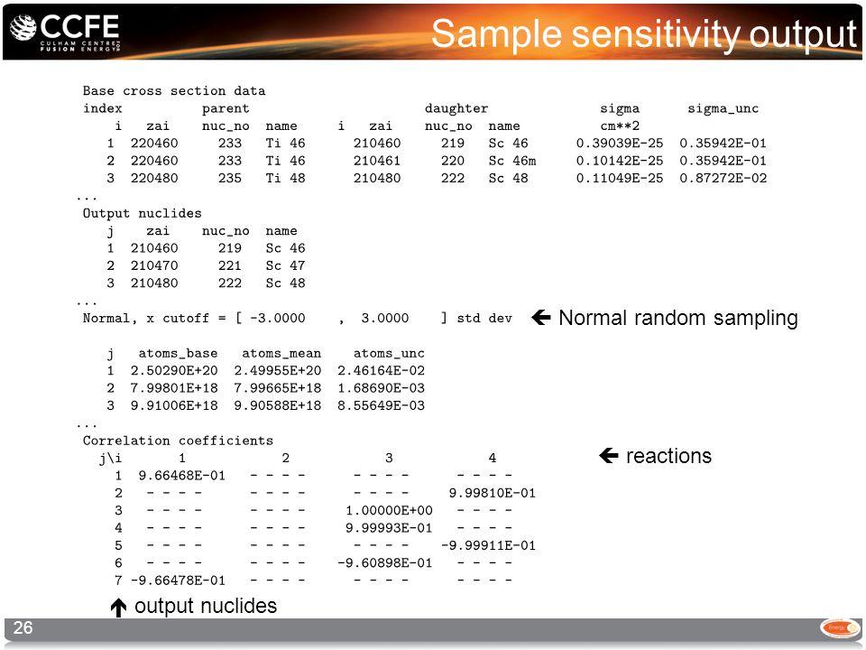 Sample sensitivity output 26  reactions  output nuclides  Normal random sampling