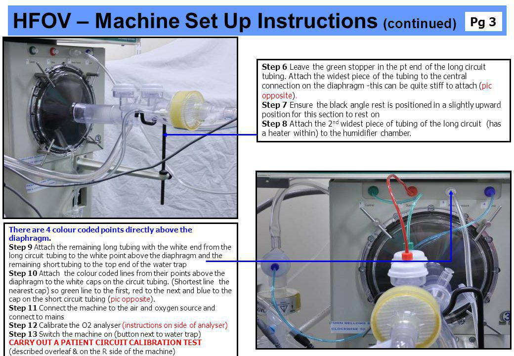 HFOV – Machine Set Up Instructions (continued) There are 4 colour coded points directly above the diaphragm. Step 9 Attach the remaining long tubing w