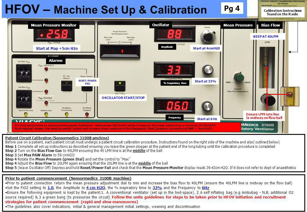 Calibration Instructions found on the R side Start at 4cmH20 Start at 33% Start at 6 Hz KEEP AT 40LPM OSCILLATOR START/STOP Ensure LPM rate line Is mi