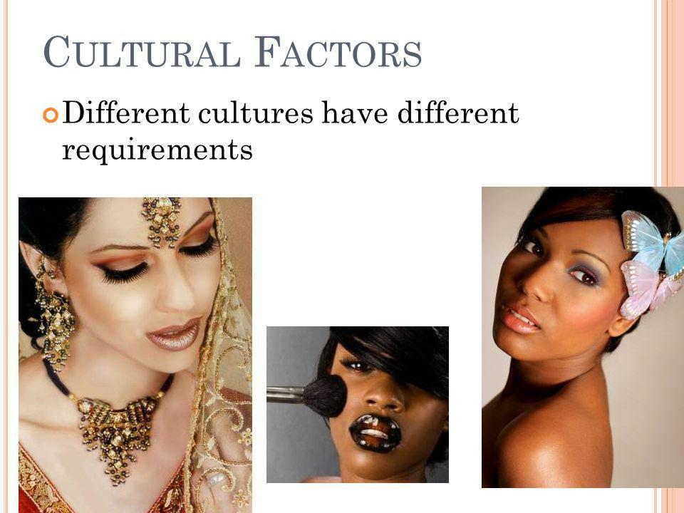 C ULTURAL F ACTORS Different cultures have different requirements
