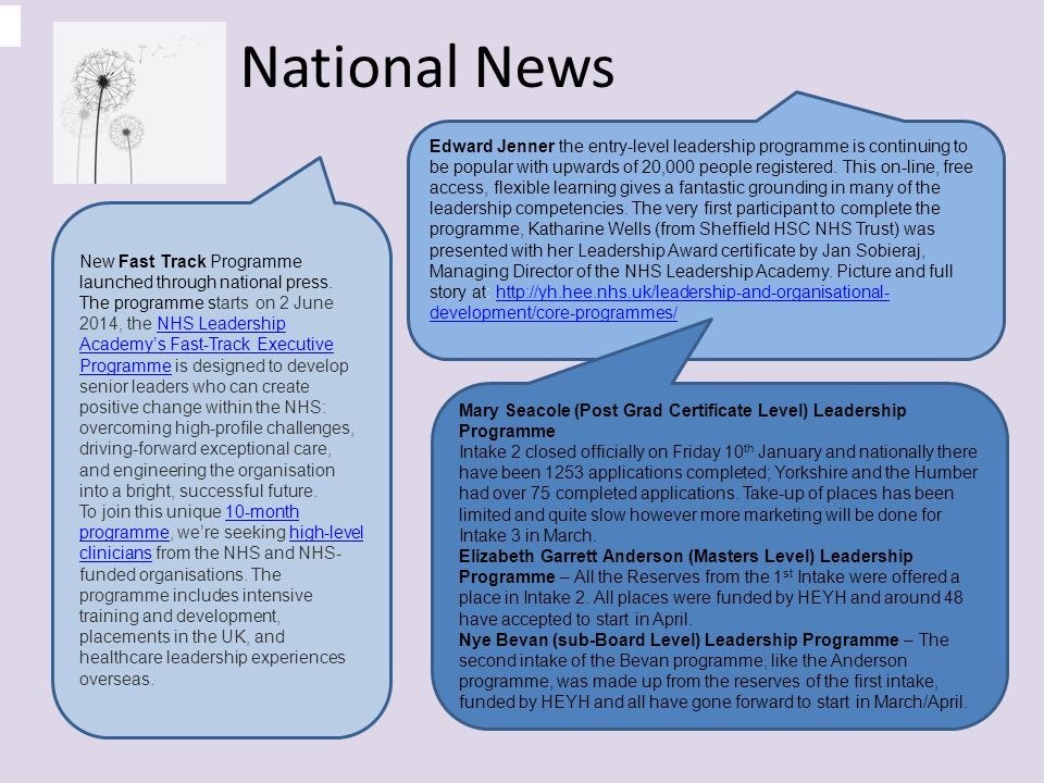 National News New Fast Track Programme launched through national press.