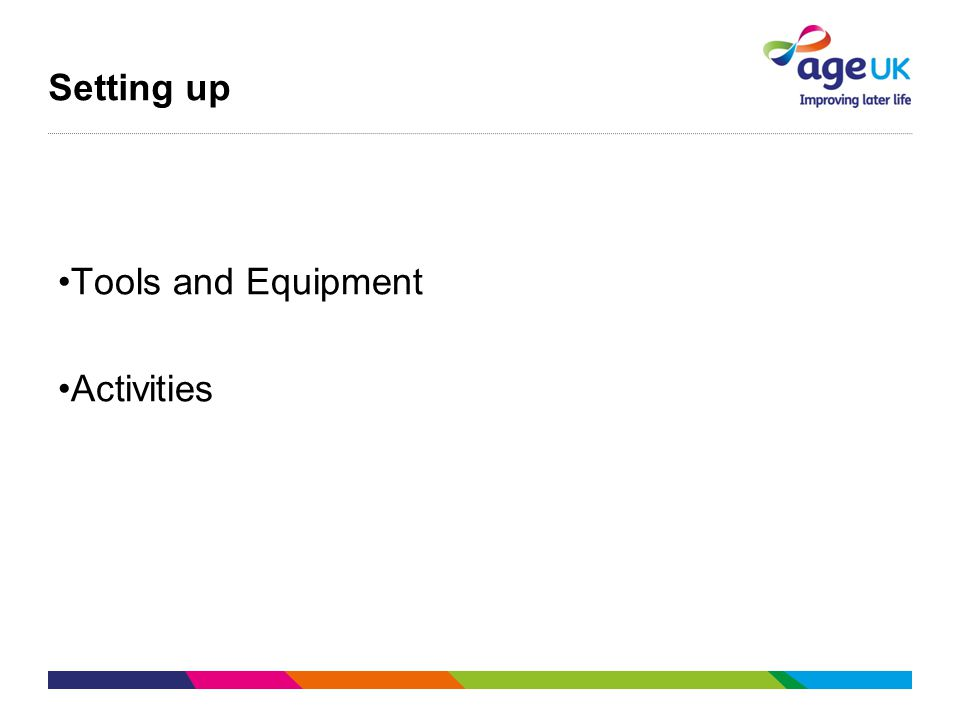 Setting up Tools and Equipment Activities
