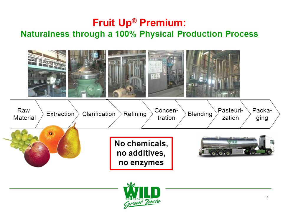 1) Based on analysis from n>10 batches in 2006 *AIJN data valid for 2006 8 Fruit Up® Premium: Point Of Difference of Fruit Up Premium vs.