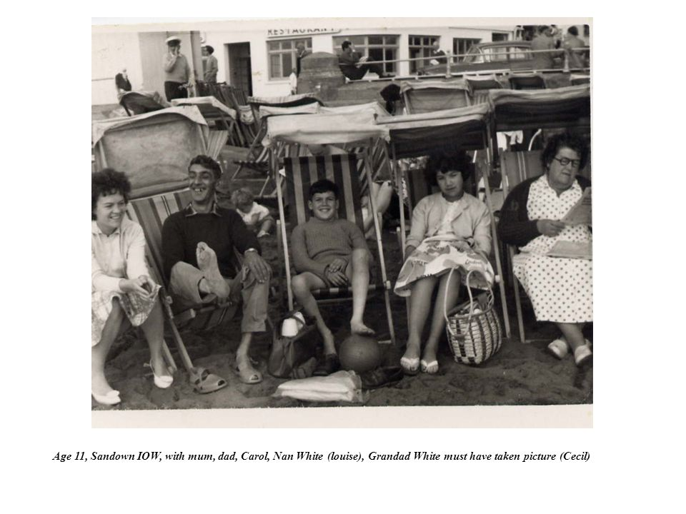 Age 11, Sandown IOW, with mum, dad, Carol, Nan White (louise), Grandad White must have taken picture (Cecil)
