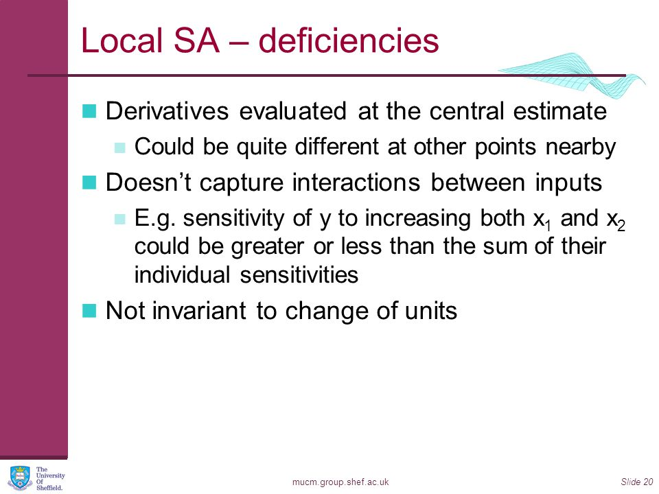 mucm.group.shef.ac.ukSlide 20 Local SA – deficiencies Derivatives evaluated at the central estimate Could be quite different at other points nearby Do