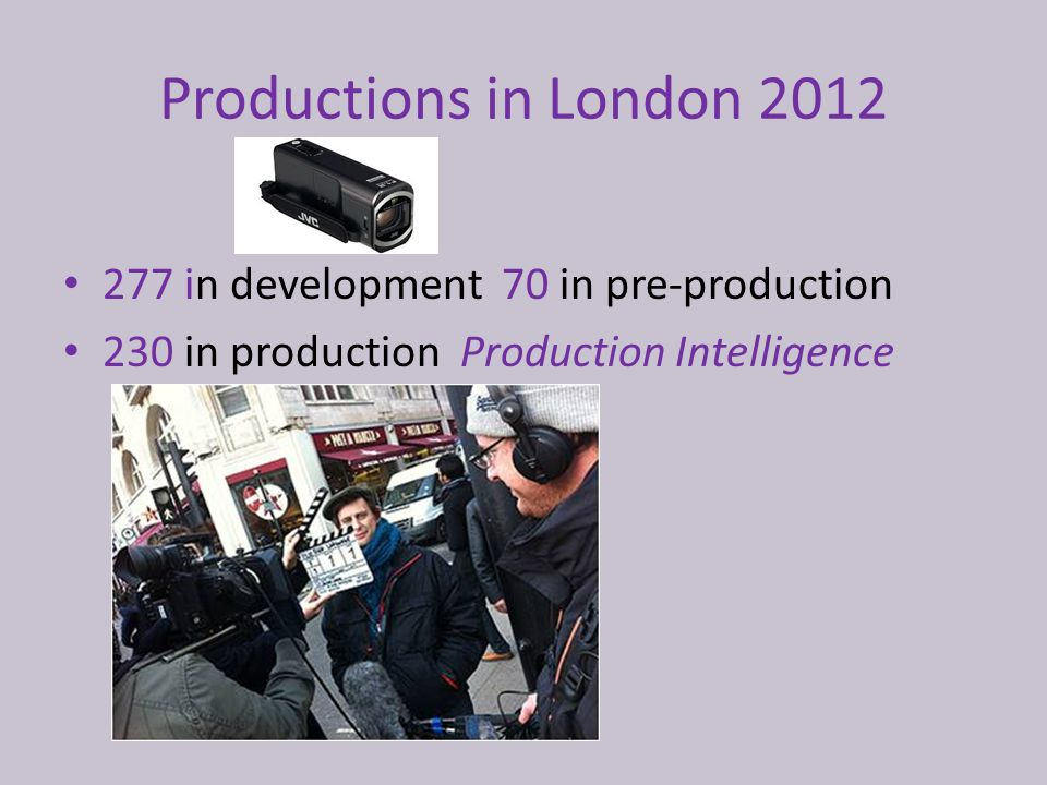 Productions in London 2012 277 in development 70 in pre-production 230 in production Production Intelligence