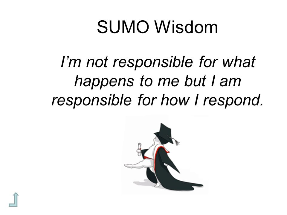 SUMO Wisdom I'm not responsible for what happens to me but I am responsible for how I respond.