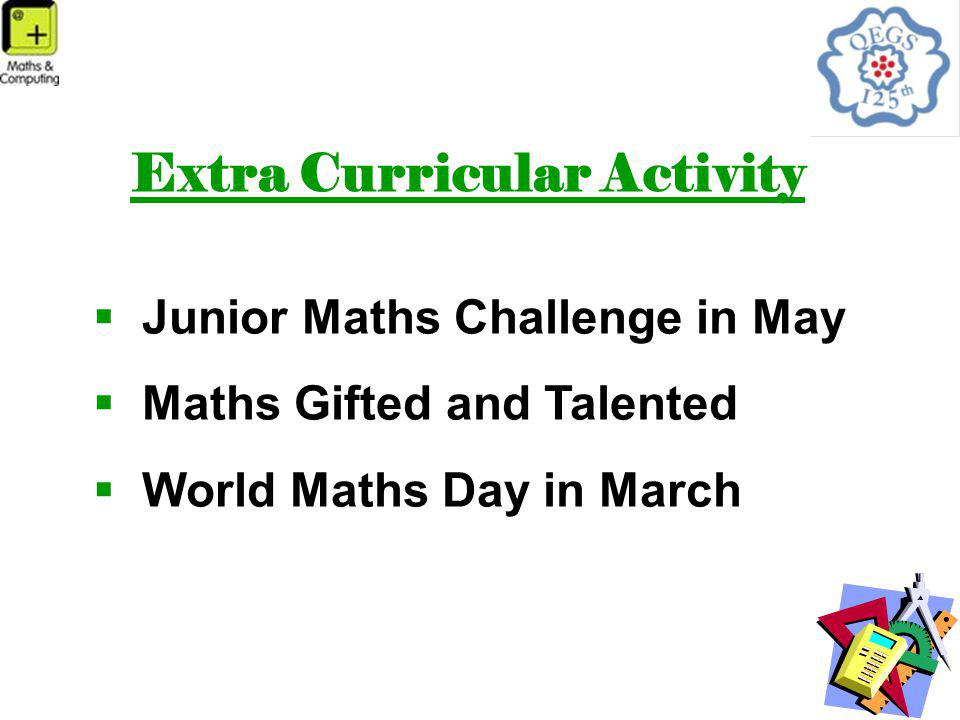 Extra Curricular Activity  Junior Maths Challenge in May  Maths Gifted and Talented  World Maths Day in March