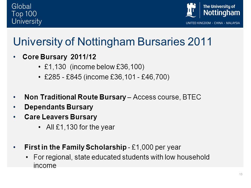 13 University of Nottingham Bursaries 2011 Core Bursary 2011/12 £1,130 (income below £36,100) £285 - £845 (income £36,101 - £46,700) Non Traditional R