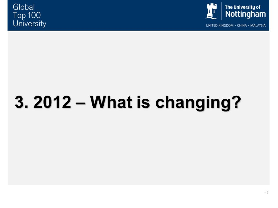 17 3. 2012 – What is changing?