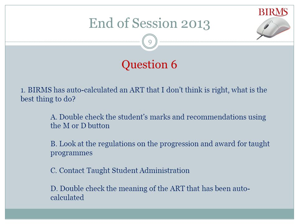 End of Session 2013 Exam Board documentation: Result Sheets (transcript style) 20