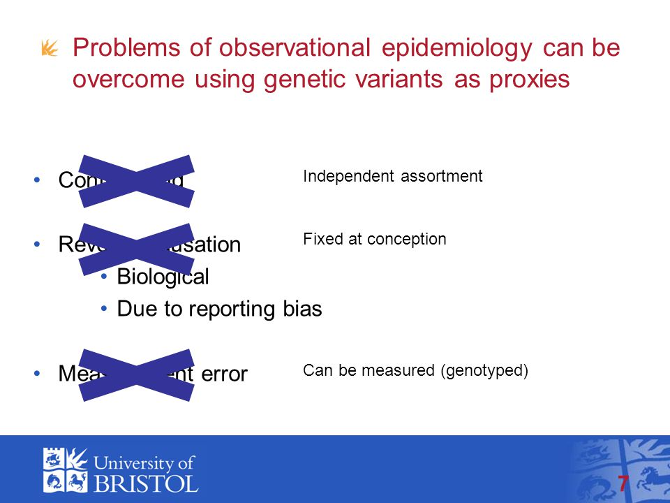 Problems of observational epidemiology can be overcome using genetic variants as proxies Confounding Reverse causation Biological Due to reporting bias Measurement error 7 Independent assortment Fixed at conception Can be measured (genotyped)