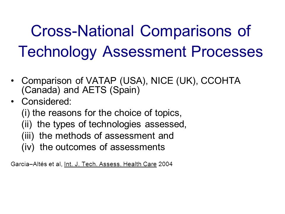 Cross-National Comparisons of Technology Assessment Processes Comparison of VATAP (USA), NICE (UK), CCOHTA (Canada) and AETS (Spain) Considered: (i) the reasons for the choice of topics, (ii) the types of technologies assessed, (iii) the methods of assessment and (iv) the outcomes of assessments Garcia–Altés et al, Int.