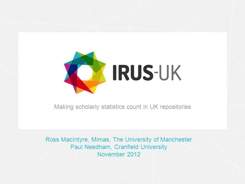 irus.mimas.ac.uk IRUS-UK Funded by JISC as part of UK RepositoryNet+ Lead by Mimas Primary Project Team Members: Mimas Cranfield University EvidenceBase, BCU IRUS-UK: Institutional Repository Usage Statistics - UK