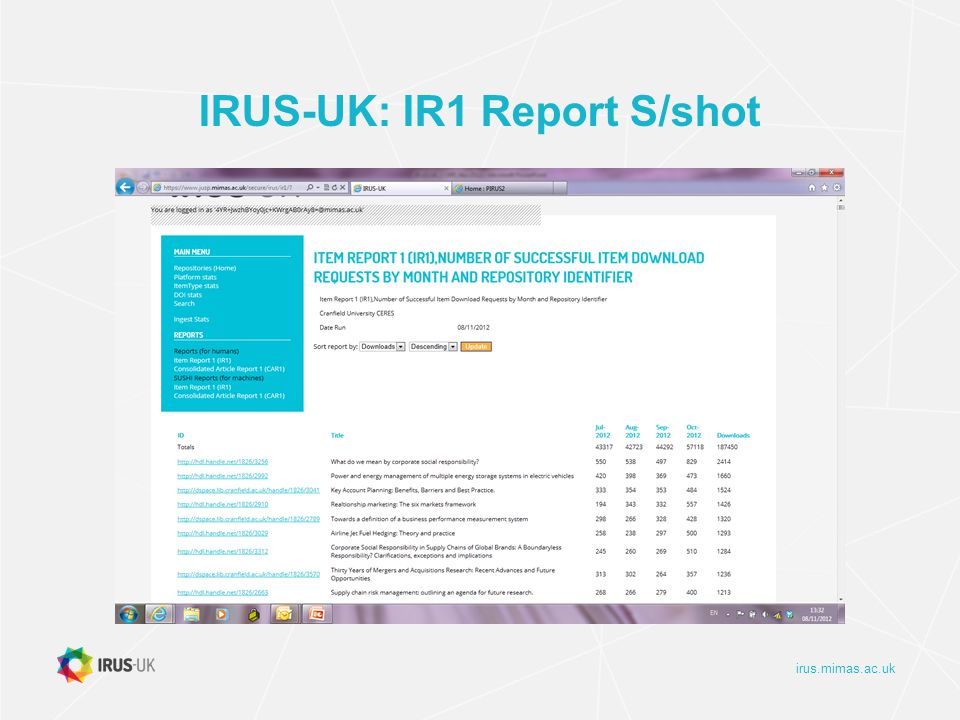 irus.mimas.ac.uk IRUS-UK: IR1 Report S/shot