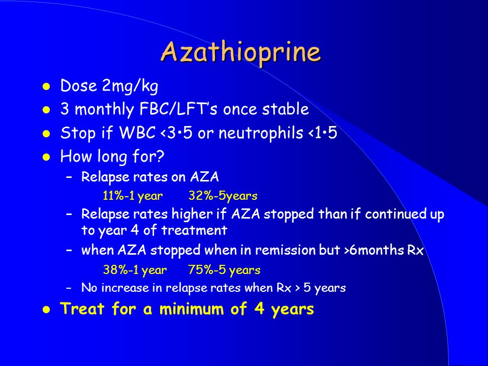 Azathioprine Converted to 6-MP in liver and then to thioinosinic acid which impairs purine biosynthesis - inhibits cellular proliferation - slow onset