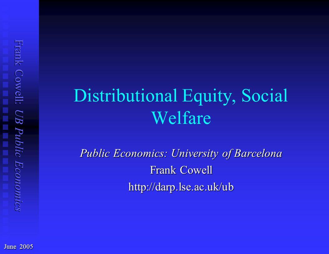 Frank Cowell: UB Public Economics Onwards from welfare economics...