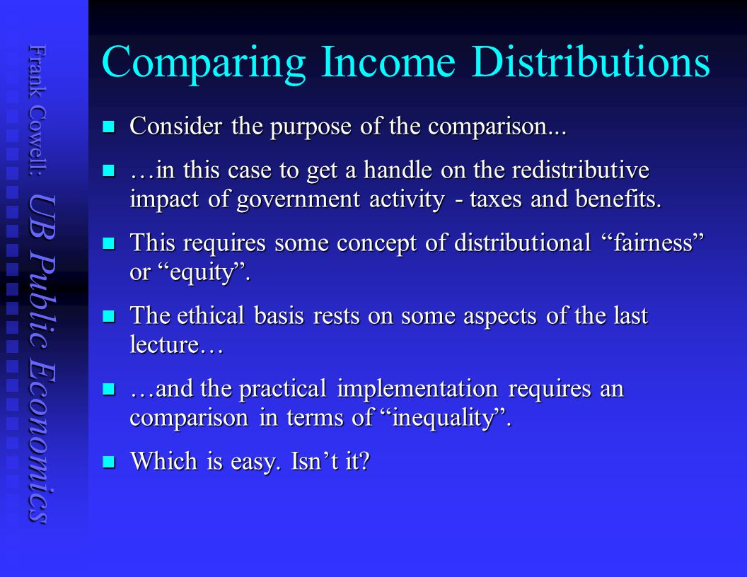Frank Cowell: UB Public Economics Basic Axioms: Anonymity Anonymity Population principle Population principle Monotonicity Monotonicity Principle of Transfers Principle of Transfers  Poorer to richer transfer must lower social welfare Scale / translation Invariance Scale / translation Invariance Strong independence / Decomposability Strong independence / Decomposability