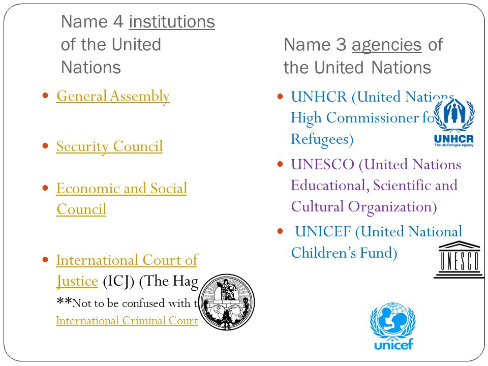 Name 4 institutions of the United Nations General Assembly Security Council Economic and Social Council Economic and Social Council International Cour