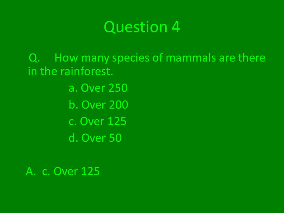 Question 4 Q. How many species of mammals are there in the rainforest.