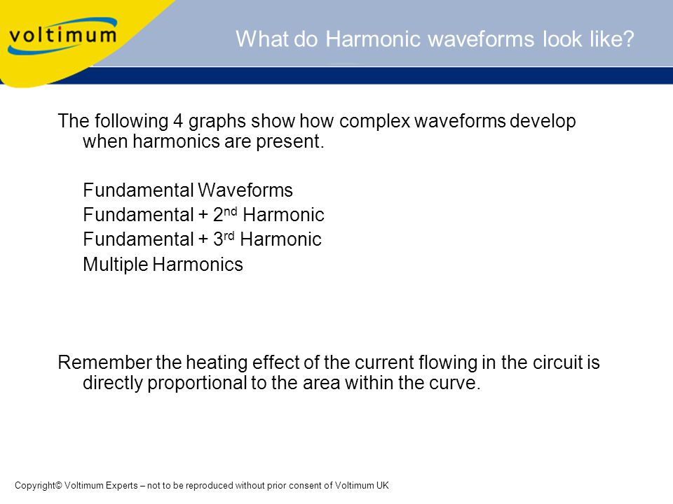 Copyright© Voltimum Experts – not to be reproduced without prior consent of Voltimum UK What do Harmonic waveforms look like.