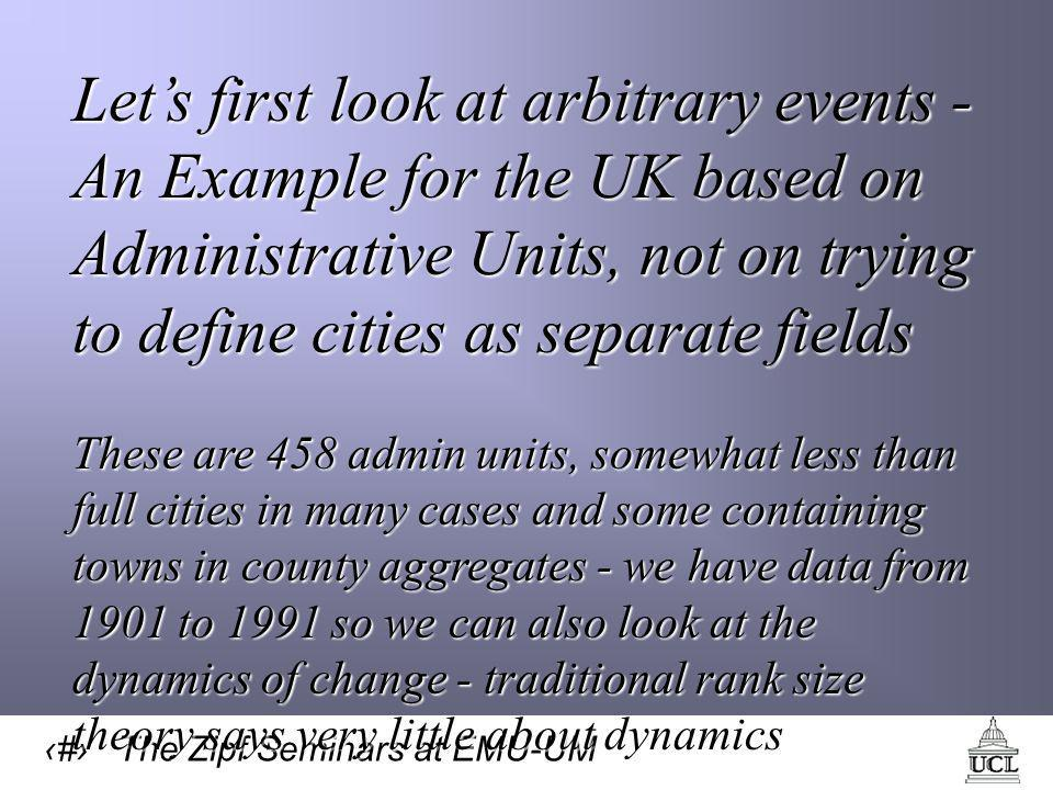 10 The Zipf Seminars at EMU-UM Let's first look at arbitrary events - An Example for the UK based on Administrative Units, not on trying to define cities as separate fields These are 458 admin units, somewhat less than full cities in many cases and some containing towns in county aggregates - we have data from 1901 to 1991 so we can also look at the dynamics of change - traditional rank size theory says very little about dynamics