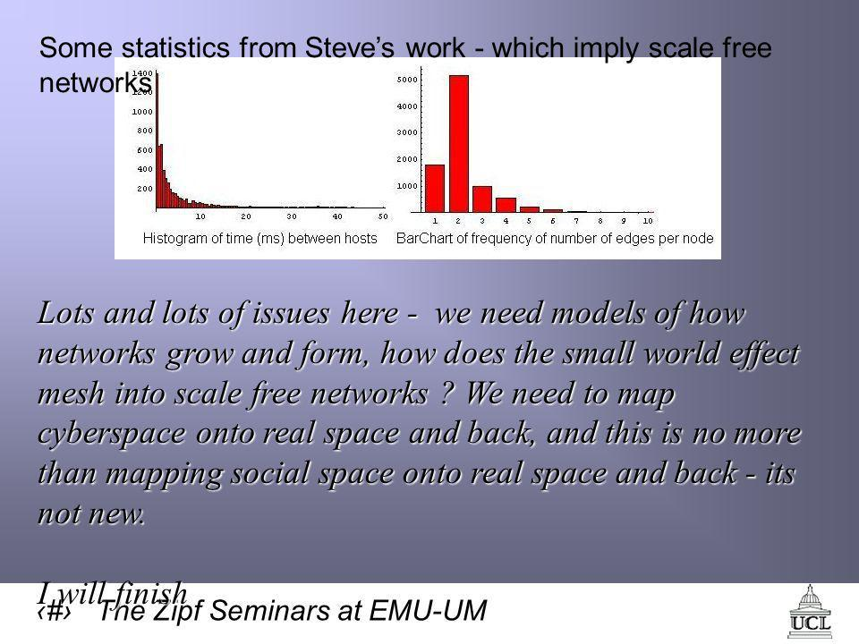 31 The Zipf Seminars at EMU-UM Some statistics from Steve's work - which imply scale free networks Lots and lots of issues here - we need models of how networks grow and form, how does the small world effect mesh into scale free networks .